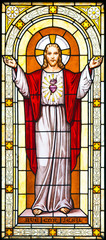 Jesus window painting in cemetery
