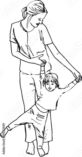 Line Drawing Little Girl : Quot sketch of little girl having fun with her beautiful