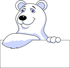Polar bear cartoon with blank sign