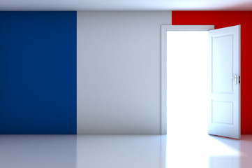 France flag on empty room