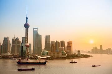 Aluminium Prints Shanghai shanghai skyline at dusk