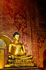Golden buddha Images in the ancient temple ,Thailand.