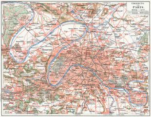 Map of Paris and the suburbs.