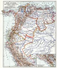 Map of Peru, Ecuador, Colombia and Venezuela.