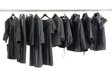 clothes on hanger in a row