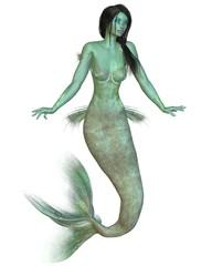 Green skinned dark haired mermaid