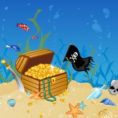 Foto op Plexiglas Piraten Vector illustration of an underwater treasure chest