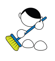 Funny cartoon boy cleaning with broom isolated on white