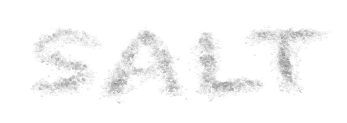 The word salt spelled out on a white background