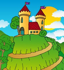 Door stickers Castle Castle on hill
