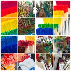Fotobehang Graffiti collage assemblage photos pinceaux artiste peintre