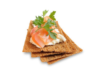 Snack. Bread with feta cheese and salmon.