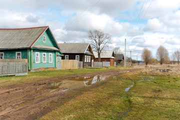Street of the Russian countryside in the spring