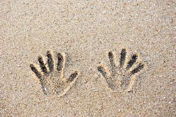 tracks on the sand