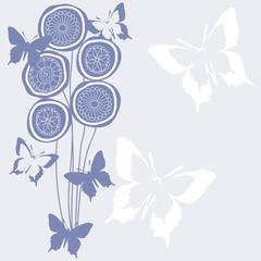 vertical vector flower bouquet with butterflies