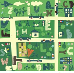 Wall Murals On the street find alphabet on a seamless cartoon map