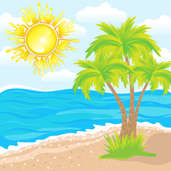 Vector summer background, tropical beach with palm trees