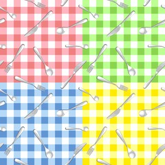 four seamless pattern with cutlery