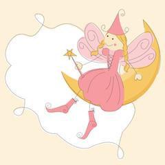 Vector invitation of a fairy on moon