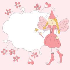 Vector invitacion of a fairy with magic wand