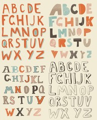 4 sets of latin alphabet