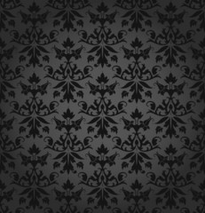 Dark Seamless Flowers/Leafs Damask Pattern