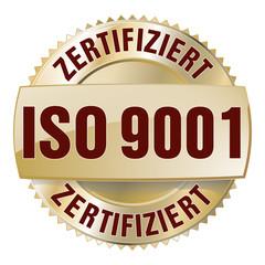 iso 9001 zertifiziert button gold