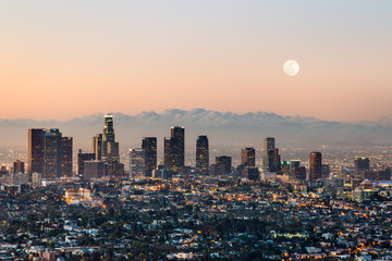 Poster Pleine lune Los Angeles skyline