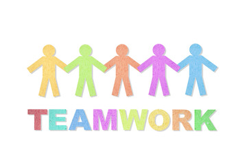 People and teamwork word created from paper