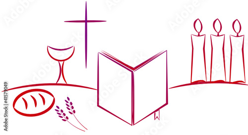 Sacred Wine And Bread Communion Christian Symbols Stock Image And