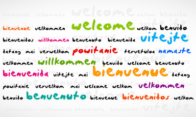 Welcome, Bienvenue, Willkommen Word Cloud