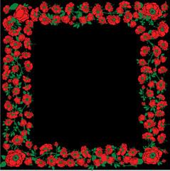 Illustration With Red Rose Floral Frame Decorations On Black Bac