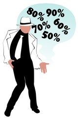 The fashionable man in a hat advertizes discounts