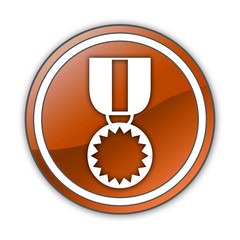 "Orange Glossy Button ""Award Medal"""