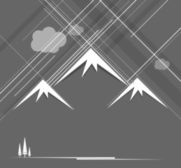 Abstract raining mountains with clouds