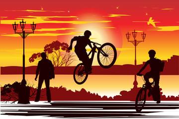 jump rider on the area at sunset