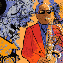 Spoed Fotobehang Muziekband saxophonist on a grunge background