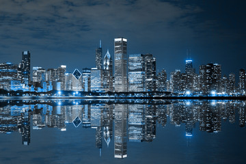 Aluminium Prints Chicago Chicago Downtown at Night
