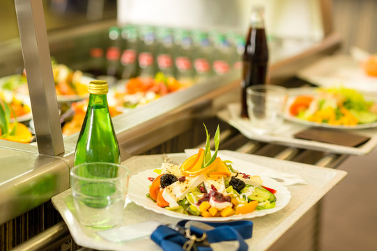 Canteen serving tray healthy food fresh salad