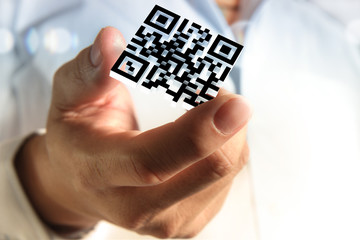 business hand shows 3d Qr code