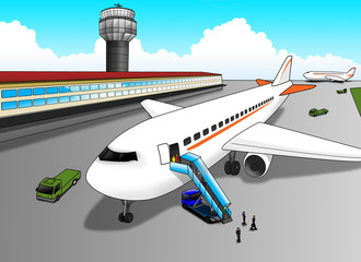 Photo sur Toile Avion, ballon Cartoon illustration of airport