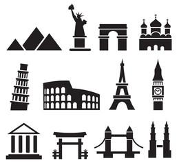 In de dag Doodle Landmark icons