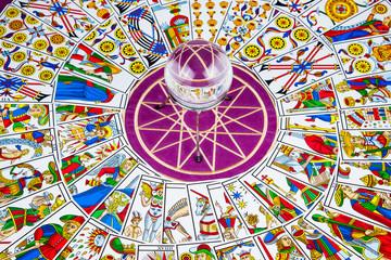 Tarot card crystal ball.