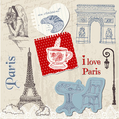 Papiers peints Doodle Scrapbook Design Elements - Paris Vintage Set - in vector