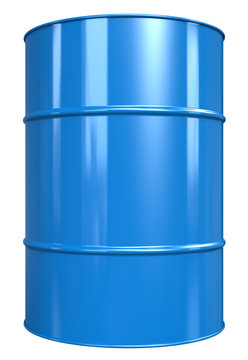 Oil Drum. Classic Oil Drum. Blue, isolated on white.