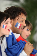 Three French football fans
