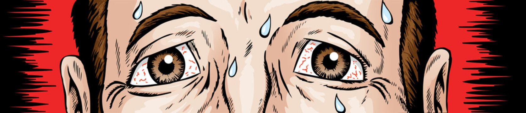 Cartoon of scared and nervous eyes