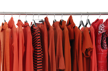 Fashion female red jacket on Hangers