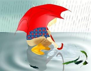 deszczowy chłopiec