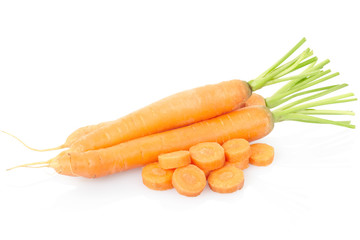 Carrots sliced on white, clipping path included